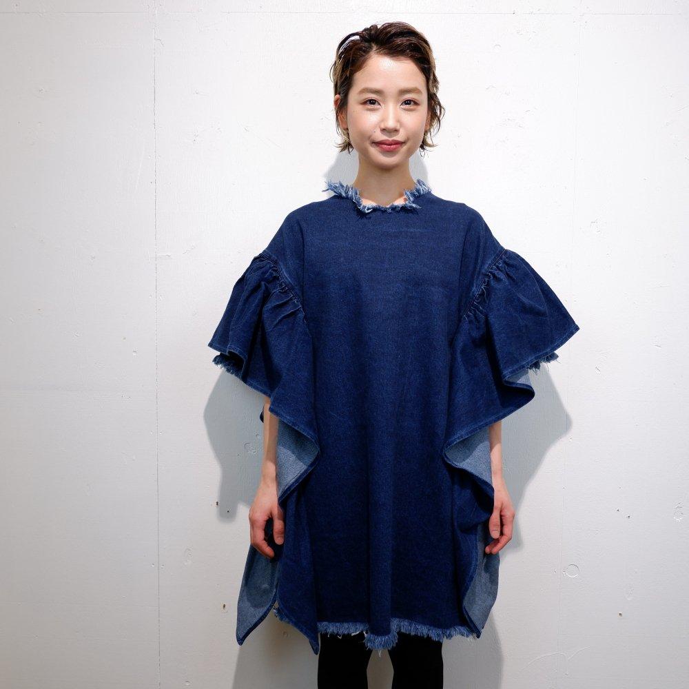ー【MARQUES ALMEIDA】OVERSIZED T-SHIRT DRESS WITH FLOUNCE SLEEVES DENIM