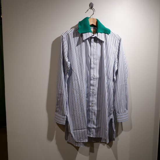 <img class='new_mark_img1' src='https://img.shop-pro.jp/img/new/icons1.gif' style='border:none;display:inline;margin:0px;padding:0px;width:auto;' />【PLAN C】 DOUBLE COLLER SHIRT/SEA BLUE STRIPE