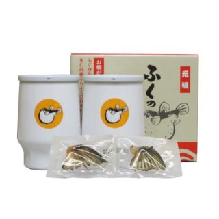 (リキュール)しらたき酒造 【ふくのひれ酒】白カップ2本入トラフグ焼きひれ付き 3セット