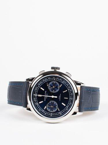 Heritage Chronograph シルバーケース ブルーダイアル ネイビーブルーレザー 時計