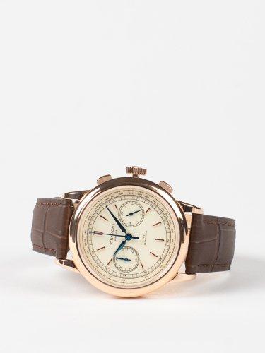 Heritage Chronograph ローズゴールドケース クリームダイアル ブラウンレザー 時計