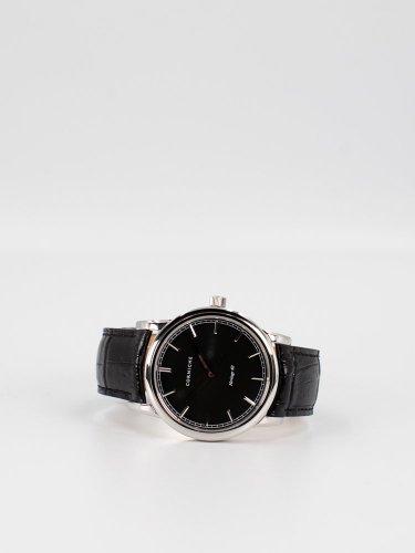 The Heritage 40 シルバーケース ブラックダイアル ブラックレザー 時計