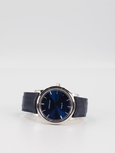 The Heritage 40 シルバーケース ブルーダイアル ブルーレザー 時計