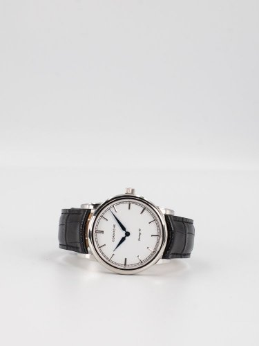 The Heritage 40 シルバーケース ホワイトフェイス ブラックレザー 時計