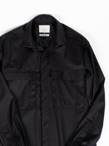 【wegenk】×【scylt】Black shirt Loro Piana SUPER 130's WOOL
