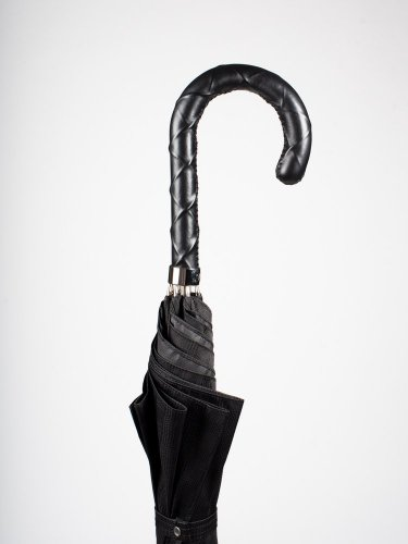BLACK CHECKERED UMBRELLA WITH TWISTED LEATHER HANDLE 傘