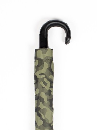 GREEN CAMOUFLAGE FOLDING UMBRELLA WITH STUDS LEATHER HANDLE 折りたたみ傘