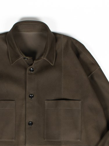 OVER SIZE LEATHER SHIRT OLIVE
