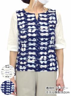 トップス メガネ プリントTシャツ 5分袖