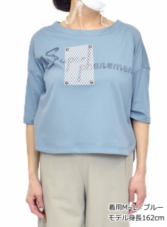 カットソー ロゴ入り 6分袖Tシャツ