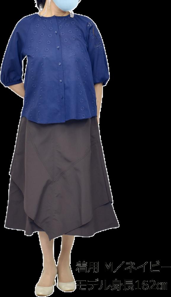 QVC 綿麻 刺繍ブラウス ジャケット【画像5】