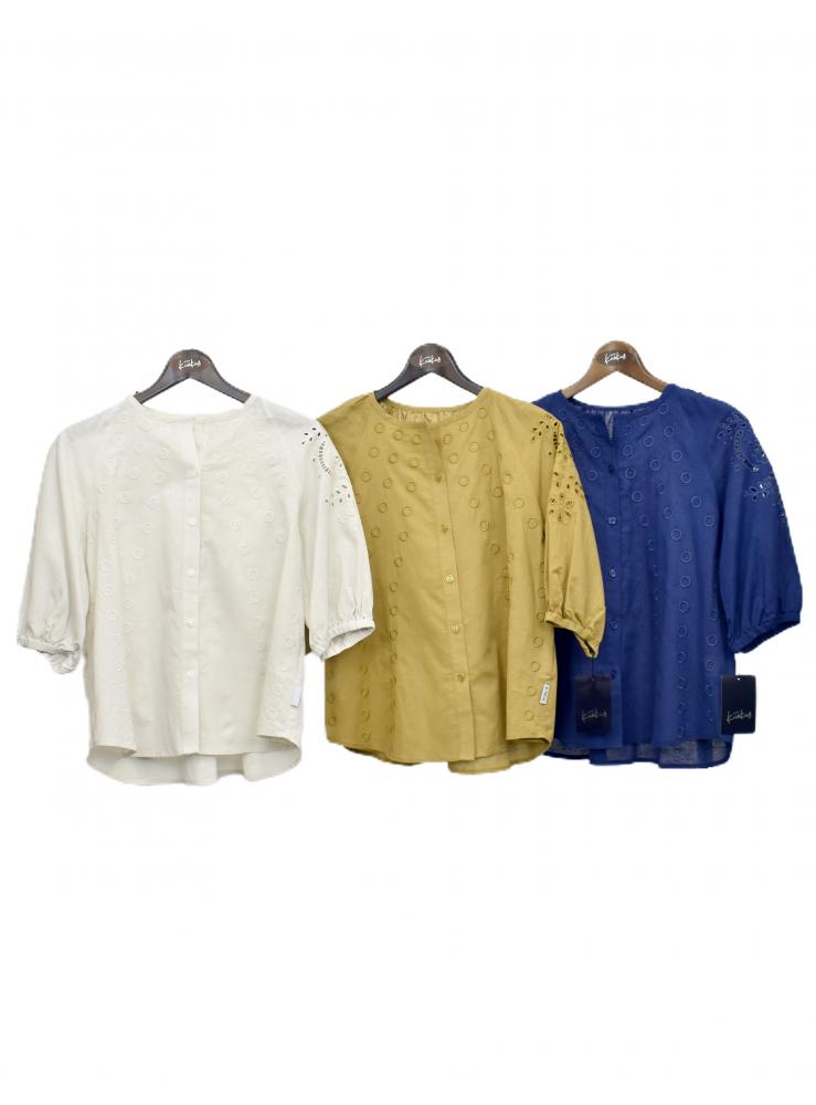 QVC 綿麻 刺繍ブラウス ジャケット【画像7】