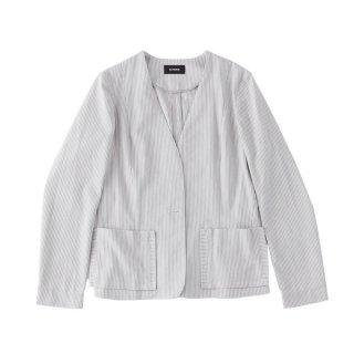ノーカラーストライプジャケット グレー × ホワイト