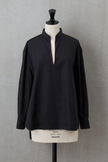 Vネックオープンシャツ ブラック