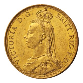 ヴィクトリア女王 ジュビリータイプ 2ポンド金貨 1887年