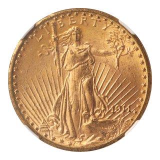 女神 立像 20ドル金貨 1911年(D) NGC MS65