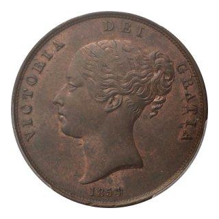 ヴィクトリア女王 ヤングタイプ 1ペニー貨 1854年 PCGS MS63BN