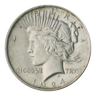 アメリカ 1924年1ドル銀貨 ピースダラー(極美〜未使用)