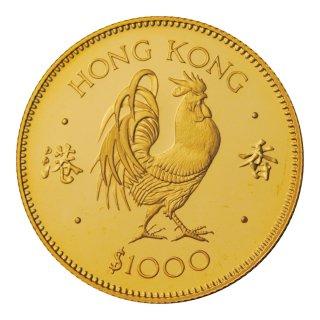 香港 1981年 1000ドル プルーフ金貨 鶏