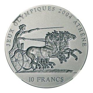 コンゴ アテネオリンピック記念貨 10フラン銀貨 2001年 NGC MS69