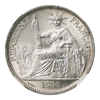 仏領インドシナ 50セント銀貨 1936年 NGC MS64