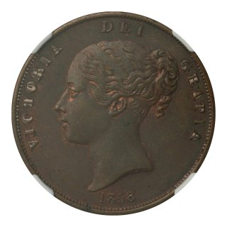 イギリス 1858年 1ペニー銅貨 ヴィクトリア(ヤング)女王 NGC MS63BN