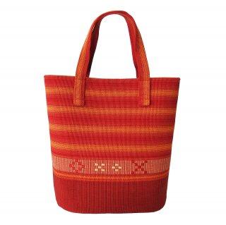 花織バケツ型バッグ 赤