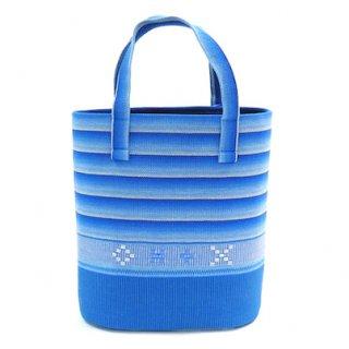 花織バケツ型バッグ 水色