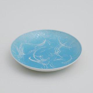 ブルー吹丸紋六寸皿