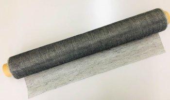 �2199 リネンシャンブレ ショール ブラック 生地 51cm巾 mカット販売 染色用  未精練