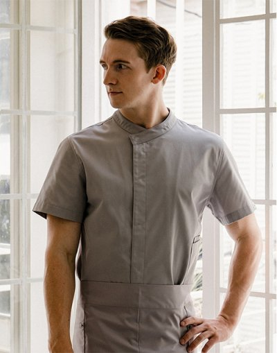 Signature Back Side Cooling short sleeves Chef Coat #AJ1979 CEMENT