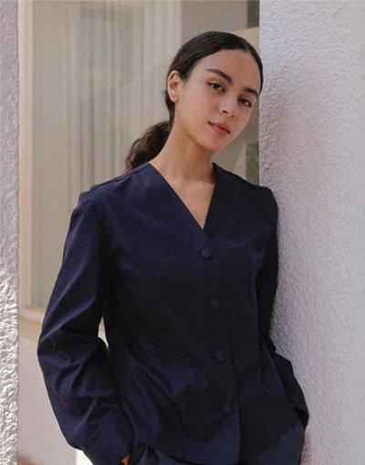 V Neck puff sleeve women chef coat #AJ1982 Dark navy