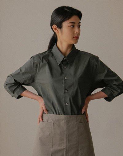 Loose fit cotton capri shirt #AS1993 Dark grey