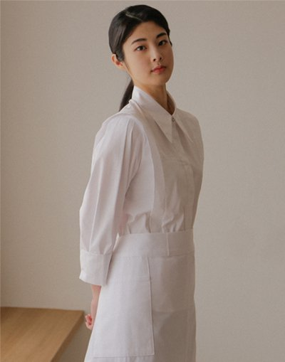 Front slit big pocket waist apron #AA2003 White