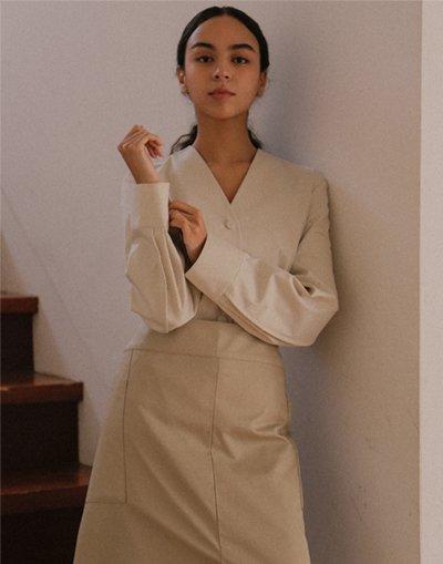 Front slit big pocket waist apron #AA2003 BEIGE