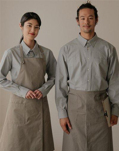 MOI Front slit chest apron #AA1984 Light Khaki