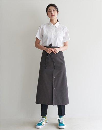 MOI Front slit waist apron #AA2004 Dark gray