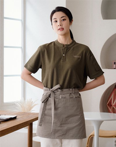 China Kara One Botton PK T-shirts #AT1997 Khaki