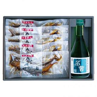 本鮎5尾と純米吟醸水音(300ml)1本セット 【NSS-501】
