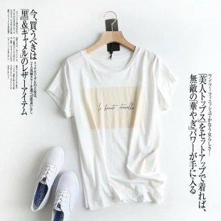 ラウンドネック シンプル ロゴ Tシャツ 半袖 軽量 トップス