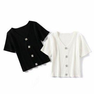 細リブ ニット Tシャツ 半袖 Vネック ダイヤモンドボタン レディース ビジュー