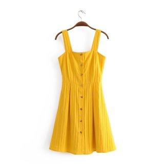 ショート ワンピース スクエアネック シングルブレスト スリング Aライン ドレス