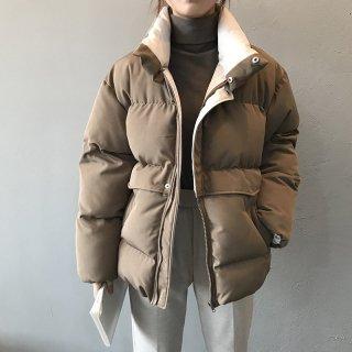 スタンドネック 中綿ジャケット コート レディース ゆったり ボリューム カジュアル ヨークデザイン アウター あったか ダウンジャケット