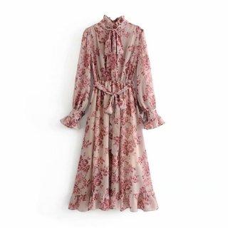 花柄 ワンピース ネクタイ 長袖 ロング フリル ドレス