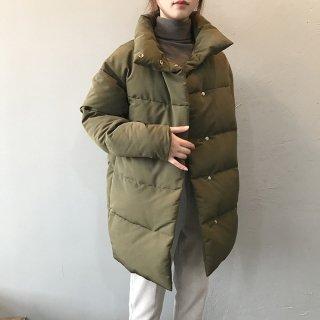 スタンドカラー 中綿コート レディース ダウンジャケット ミドル丈 防寒 あったかアウター ジャケット シンプル