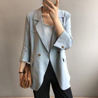 7分袖 ダブルブレスト ジャケット レディース オフィス 無地 ロング丈 なめらか素材