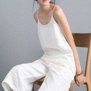 夏 キャミソール 女性 レトロ 手作り 白い コットン リネン レディース