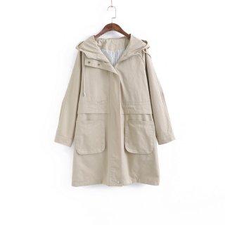 韓国スタイル コート フード付き ツーリング 大ポケット付き カジュアル ミドル丈 レディース