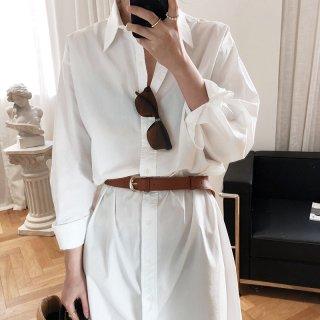 無地レディース長袖シャツ ミドル丈で一枚で着こなせる シンプルシャツ