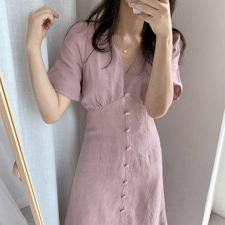 レディース Vネック カジュアル ボタン付き ワンピース ロング ドレス 半袖 フレアスリーブ